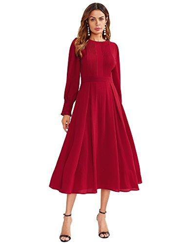 Top 8 Midi Kleid Rot - Damen-Kleider - Tercenus